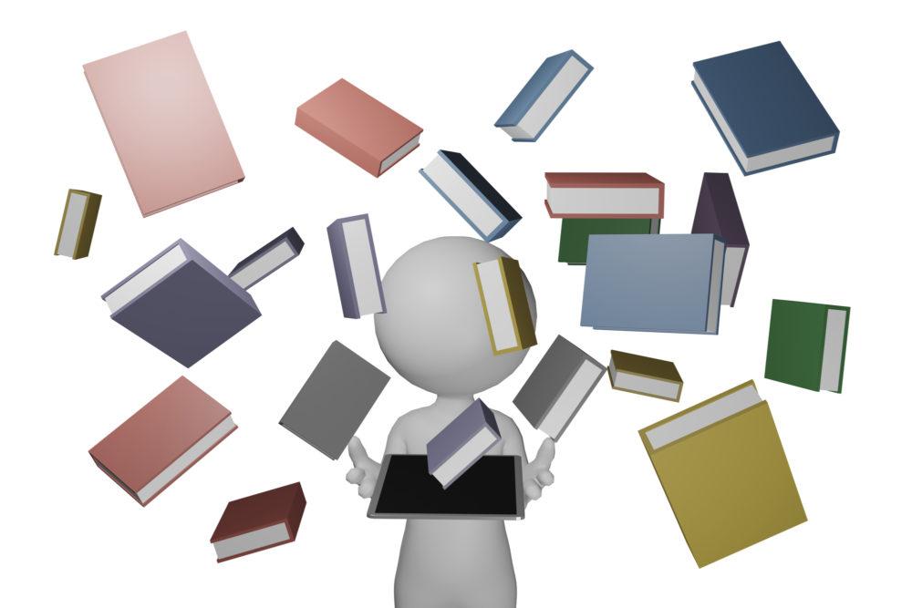 数多くの電子書籍を端末で読めることをイメージさせる画像